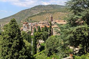 Картинка Италия Дома Холмы Деревья Tivoli Города