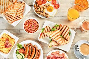 Картинка Сок Сэндвич Сосиска Хлеб Завтрак Продукты питания