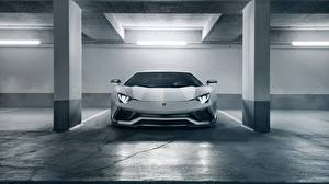 Картинка Lamborghini Спереди Белый 2018 Novitec Torado Aventador S Автомобили