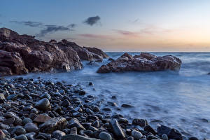 Фото Новая Зеландия Берег Камень Рассветы и закаты Утес Waitoitoi Waikato Природа