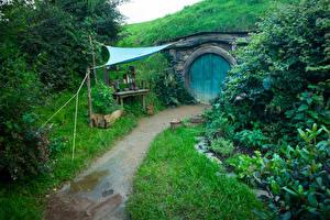 Фотографии Новая Зеландия Парки Здания Hobbit House Matamata