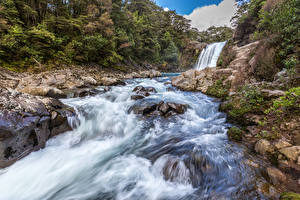 Картинка Новая Зеландия Парки Водопады Камни Tawhai Falls Tongariro National Park Природа
