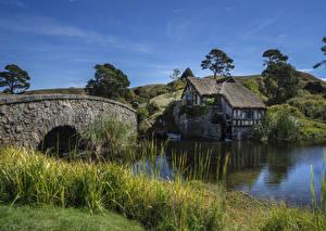 Фотография Новая Зеландия Реки Здания Мосты Трава Водяная мельница Buckland Waikato