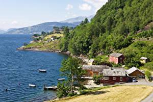 Обои Норвегия Берег Здания Пирсы Balestrand Города