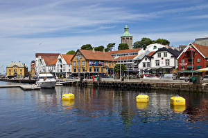 Фото Норвегия Здания Речка Пирсы Улица Stavanger