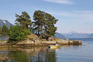 Картинки Норвегия Пирсы Залив Деревья Balestrand Природа