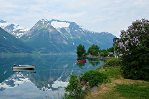 Картинка Норвегия Горы Речка Лодки Hjelle Природа