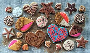 Фотографии Выпечка Печенье Дизайн Сердце Продукты питания