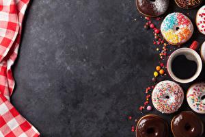Фотографии Выпечка Пончики Кофе Чашка Пища