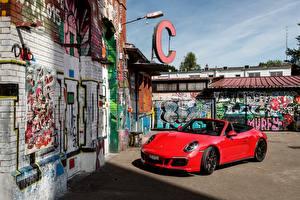 Фотографии Порше Красный Металлик Кабриолет 2017 911 Carrera 4 GTS Cabriolet Worldwide Авто