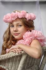 Картинка Розы Девочки Модель Взгляд Дети