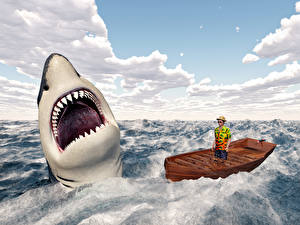 Фотографии Море Акулы Лодки Мужчины Волны 3D Графика