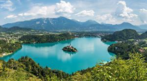 Обои Словения Пейзаж Озеро Остров Гора Bled Природа