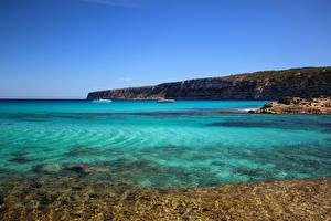 Фотография Испания Берег Море Formentera Pityusic Islands Природа