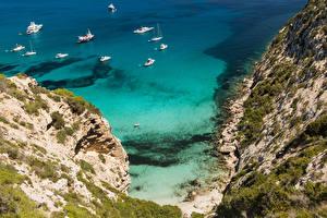 Фото Испания Берег Корабли Утес Formentera Pityusic Islands Природа