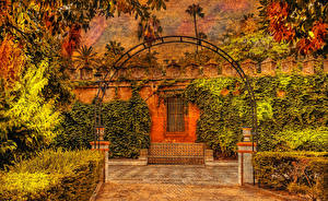 Фотография Испания Сады Дизайн Кусты Murillo Gardens Природа