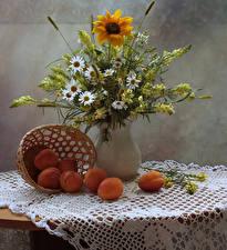 Картинки Натюрморт Ромашки Антирринум Подсолнухи Абрикос Ваза Цветы Еда