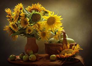 Обои Натюрморт Подсолнечник Яблоки Ваза Корзина Цветы Еда