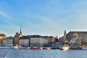 Фото Швеция Стокгольм Дома Пристань Корабли Залив