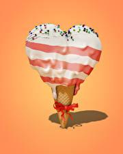 Фотография Сладкая еда Мороженое Цветной фон Сердца Бант