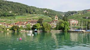 Фото Швейцария Здания Озеро Поля Пирсы Twann Города