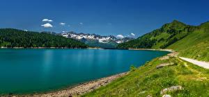 Фотографии Швейцария Озеро Горы Трава Lago Ritom Ticino Природа