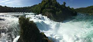 Картинка Швейцария Реки Водопады Скала Neuhausen am Rheinfall