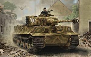 Фотографии Танки Рисованные Немецкий Tiger I, Late Production