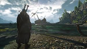 Обои The Witcher 3: Wild Hunt Воители Геральт из Ривии Мечи Игры