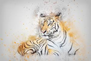Картинка Тигры Рисованные Животные