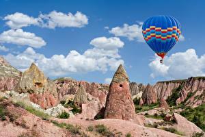 Фотография Турция Парки Утес Аэростат Cappadocia Goreme national park Природа