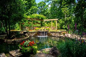 Фото Штаты Сады Пруд Водопады Gibbs Gardens