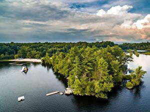 Обои Штаты Озеро Пирсы Нью-Йорк Деревья Mastens Lake