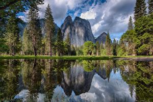 Картинка США Парки Горы Озеро Йосемити Деревья
