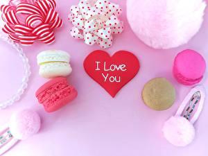 Фотография День святого Валентина Сердце Макарон Еда