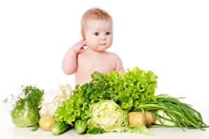 Фото Овощи Белом фоне Грудной ребёнок Смотрят Дети