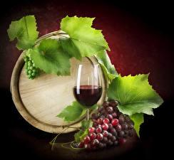 Картинки Бочка Вино Виноград Бокалы Листва