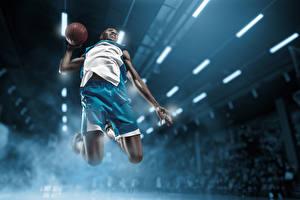 Картинка Баскетбол Мужчины Мячик Прыгает Негры