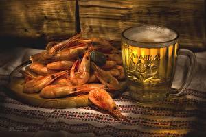 Фотография Пиво Креветки Кружка Пища