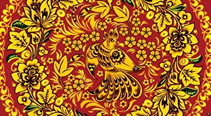 Фотографии Птица Текстура Русские Khokhloma цветок