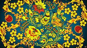 Картинки Птица Текстура Российские Khokhloma Цветы