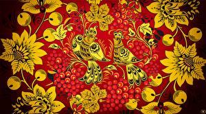 Картинки Птицы Текстура Российские Khokhloma