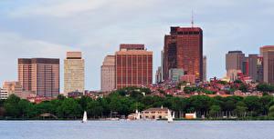 Фото Бостон Штаты Здания Речка Берег Города