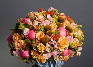 Фотография Букеты Розы Пионы Маттиола Сером фоне Цветы