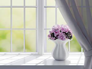 Фото Букеты Розы Окно Ваза 3D Графика Цветы