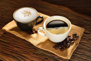 Фотография Кофе Капучино 2 Чашка Зерна Пища