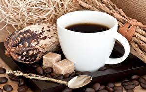 Фото Кофе Чашка Зерна Сахар Ложка Пища