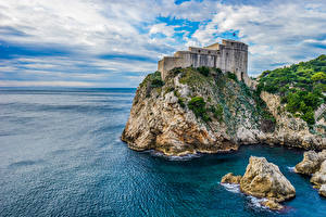 Обои Хорватия Замки Камни Дубровник Скала Залив Города