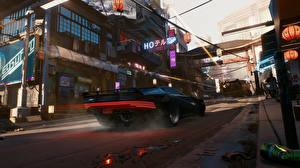 Картинка Cyberpunk 2077 Улица Игры Автомобили