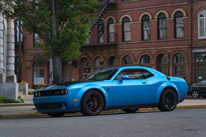 Картинка Dodge Голубых Металлик 2019 Challenger SRT Hellcat Redeye Widebody машины